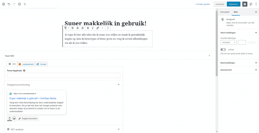 wordpress website laten maken. een afbeelding hoe de wordpress editor eruit ziet