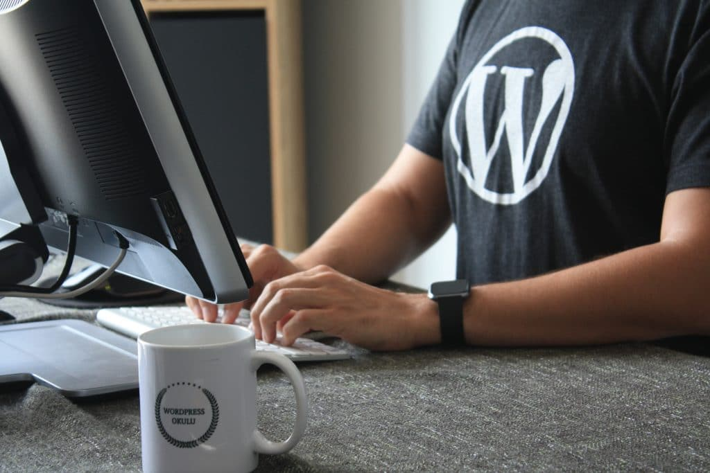 goede wordpress website, man met shirt met wordpress logo